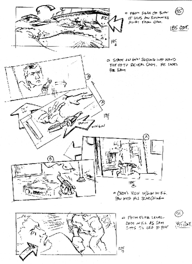 Storyboards for CAPE FEAR's final confrontation.